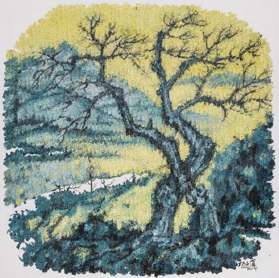 杨文萍 石·象-6 80x80cm 布面油画