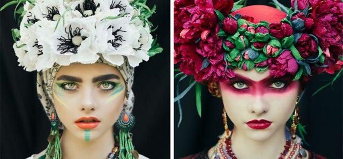 鲜花 色彩和美人 波兰艺术家重现传统服饰的魅力