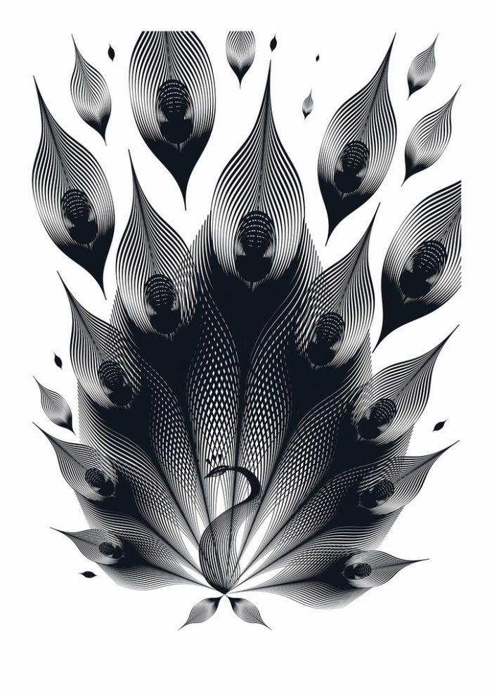 设计师andrea minini用简约单色线条描绘的动物图案