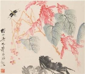 齐白石《海棠双蟹图》