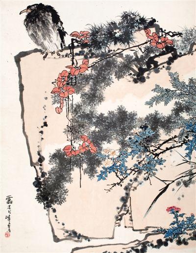 潘天寿《鹰石山花图》原图