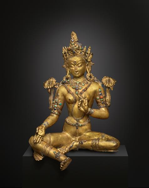 铜鎏金绿度母像原图