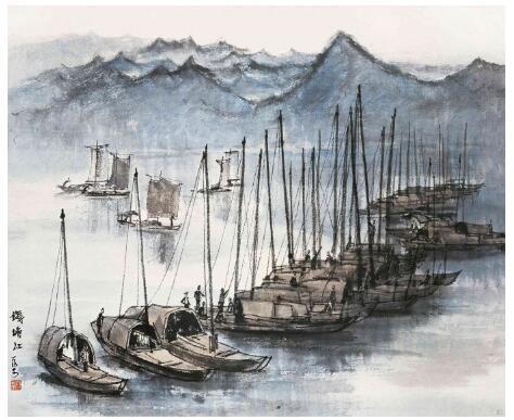 李可染《钱塘江》 1954年 42cm×49.5cm