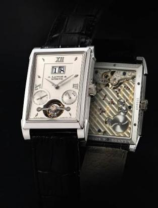 """朗格,"""" Cabaret Tourbillon"""" 精美铂金长方形陀飞轮腕表备停秒。装置、日期及动力储存显示,年份约2011;拍品编号2052;估价:800,000-1,200,000港元/103,000–154,000美元。"""