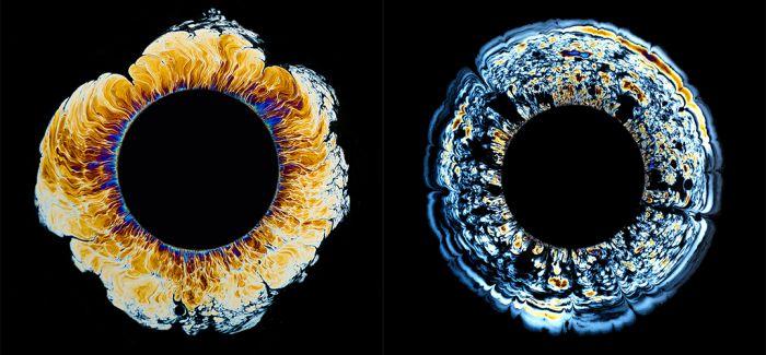 如星球爆炸般的彩色油滴摄影作品