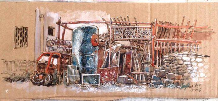 垃圾中的艺术:勾勒家乡味的废弃纸箱创作
