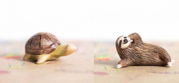 设计师leanimale可爱的木质小动物雕刻作品