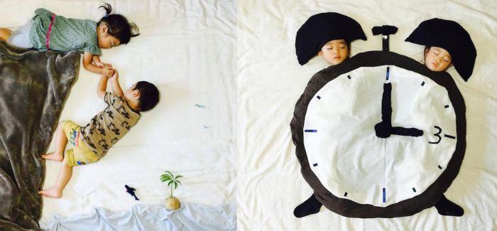 妈妈为她正在午睡的双胞胎宝宝创造有趣的场景