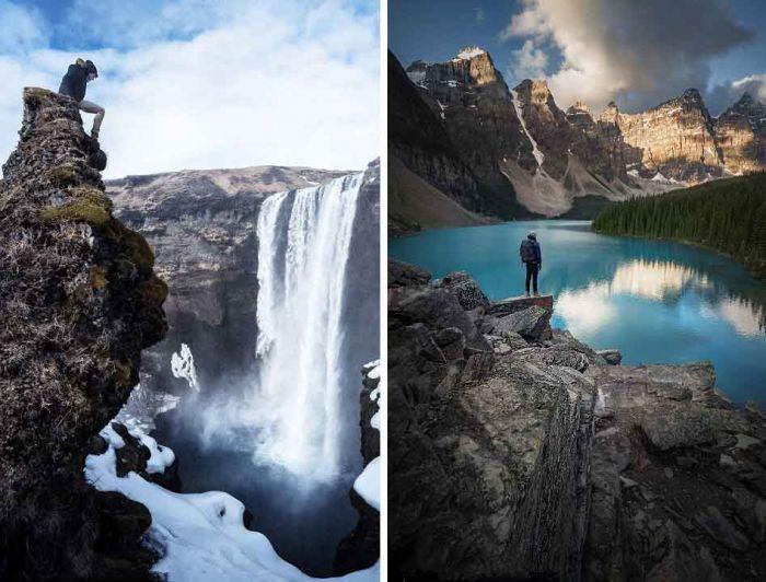 左图:冰岛冬天里的瀑布;右图:加拿大梦莲湖看日出.