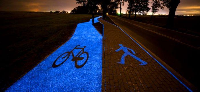 夜光单车道点亮波兰小镇   不插电的发光装置