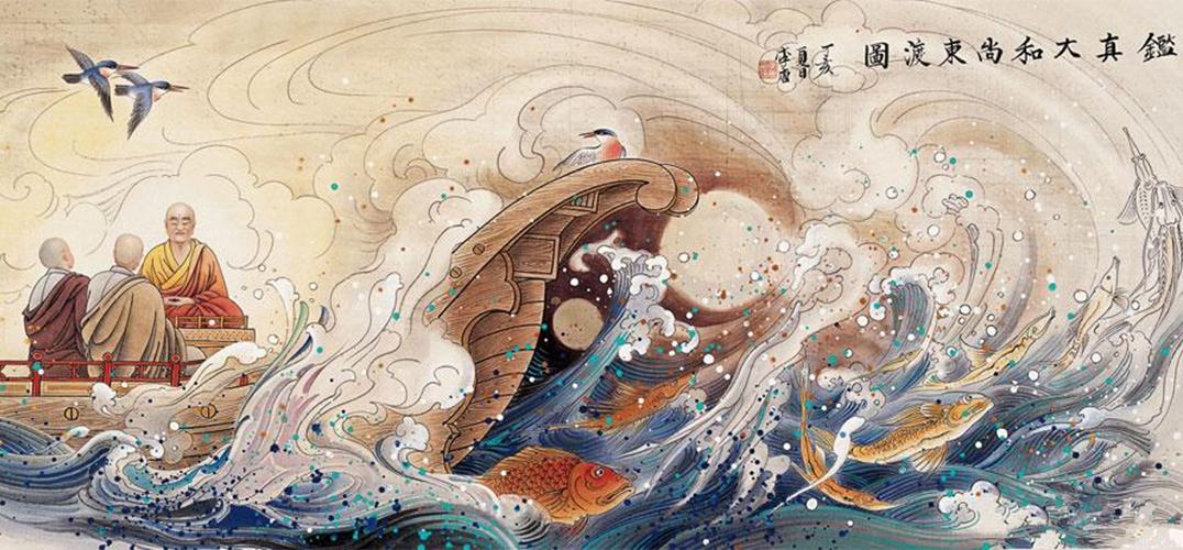 日本奈良国立博物馆展出的《鉴真和上东征传》局部  唐代风格的铁质宝塔 近日,日本奈良国立博物馆举办了名为《忍性》的特展。展出中最受关注的就是长达八十三米的画卷:《鉴真和上东征传》,它描述了我国唐朝高僧鉴真东渡的故事。 在唐代,两位高僧完成了两次著名的文化交流之旅,一次是玄奘西行,另一次就是鉴真东渡。巧的是,两位高僧的艰难旅程,都被他们的传人绘制成了长卷。只不过这两幅长卷都不在国内,而是在日本。 描述玄奘西行的是《玄奘三藏绘卷》,由日本僧人绘制于14世纪;描绘鉴真东渡的《鉴真和上东征传》,同样是在七百多