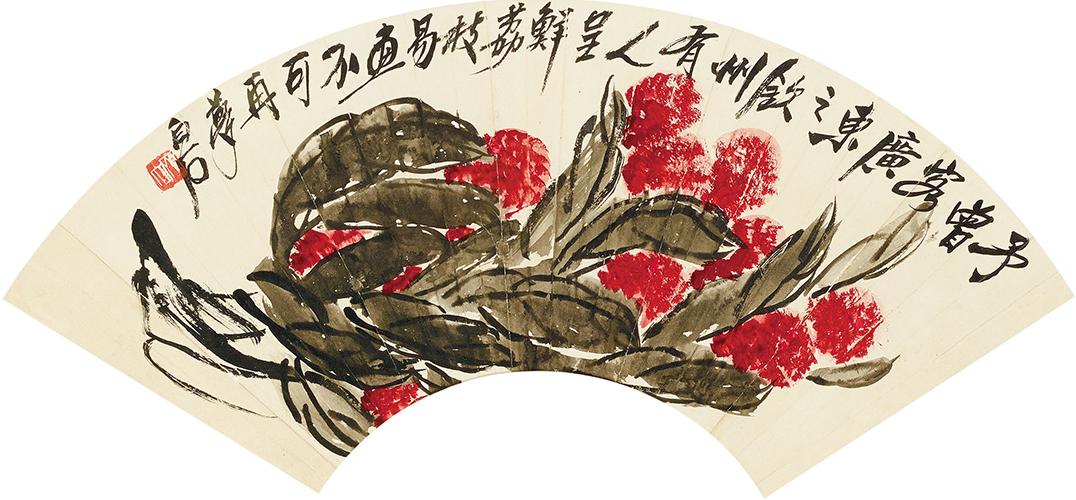 """齐白石是一位深切怀有乡土情结的艺术家,孜孜不倦地画了很多蔬果题材,几乎涵盖了我们所熟知的所有蔬菜瓜果品类。在那么多水果题材作品序列中,岭南的荔枝非常突出。 岭南北枕逶迤五岭,南临浩瀚大海,是一方山川秀异、物产瑰奇的人间乐土,是一个""""卢橘杨梅次第新""""的水果世界。佳果,就是岭南的象征与符号。据统计,岭南水果品种有500多种。最近,岭南美术界发起了一场名为""""岭南佳果""""的创作与展示活动,聚合了80余位书画名家,描绘了80余种岭南水果,可以按图索骥,感受岭南风物的人文"""