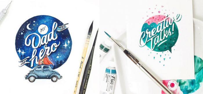 插画师June Digan将文字与插画结合成水彩画