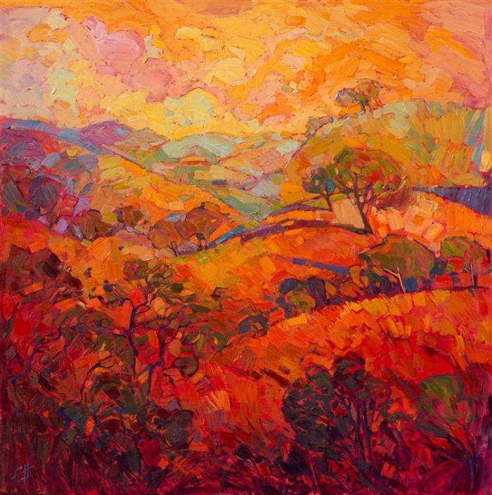 充满活力的橙色调风景画捕获美国西部的温暖