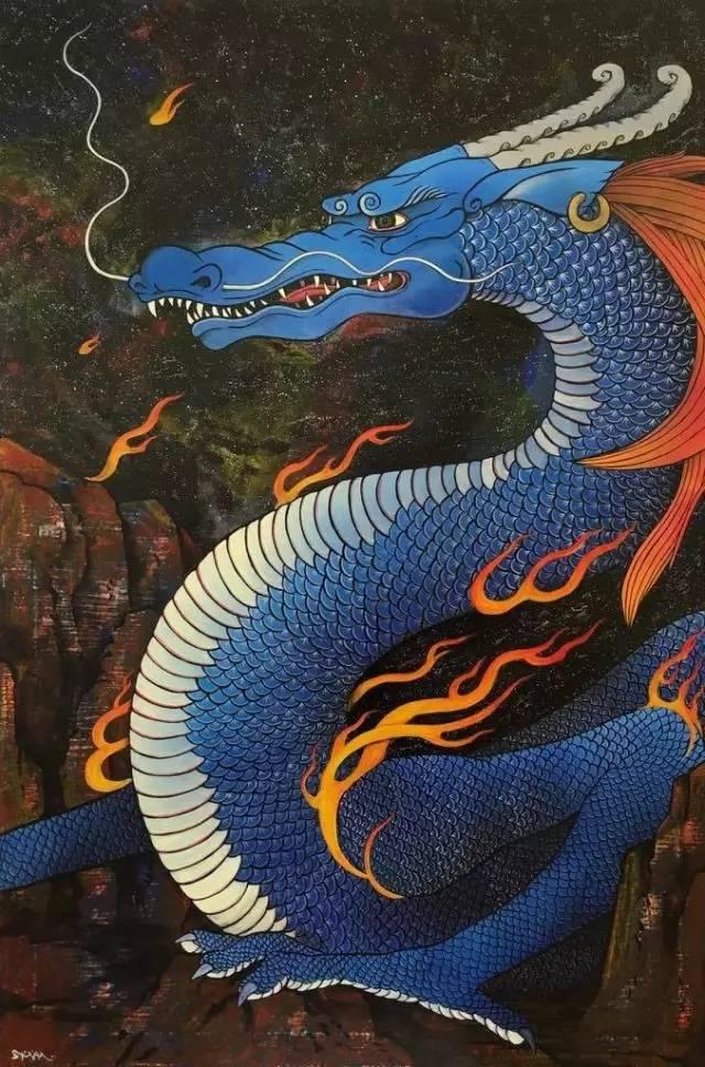 出口雄樹Yuki Ideguchi  青龙 Azure Dragon  92×61cm 2016年 综合媒材 mixed media(canvas,acrylic and spray paint,vanish, pigments)