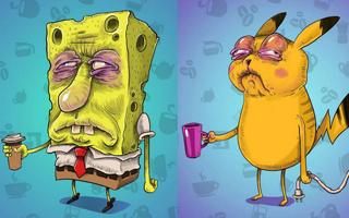 海绵宝宝也很困  早晨泡咖啡喝的著名卡通人物