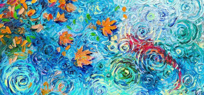 另类的笔触 用手指涂抹作画的油画作品