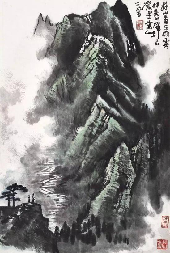Lot 416 李可染 好山看在雨霁时  镜心 设色纸本  68.8×46.8 cm。 约2.9平尺