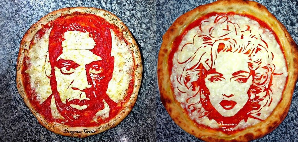食物艺术家Domenico Crolla的名人肖像Pizza