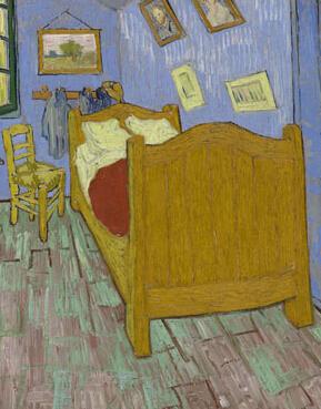 梵高于 1889 年绘制的布面油画杰作《卧室》-图片版权归原作者所有