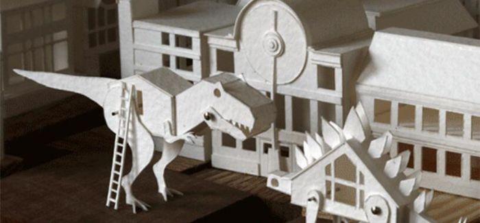 白色水彩纸构建的迷你城市
