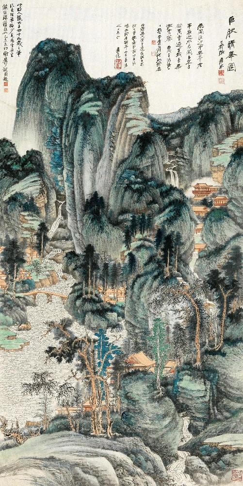 张大千《巨然晴峰图》,成交价:1.035亿元