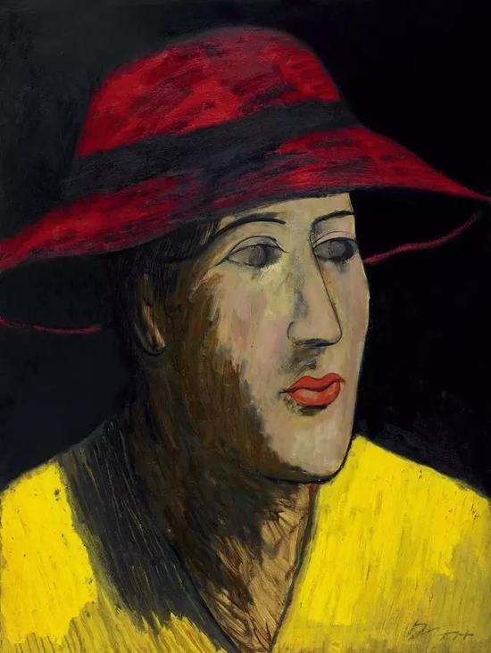 Lot116 邱亚才 戴红帽的黄衣女子
