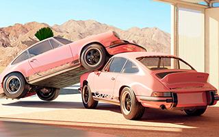 棕榈泉里超现实主义的保时捷汽车