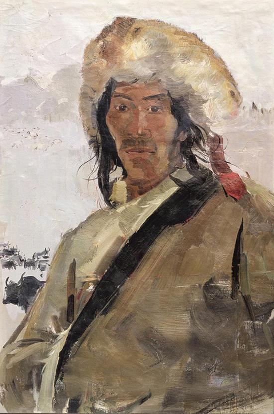 吴冠中 康巴汉子 布面油画 尺寸:81×53cm