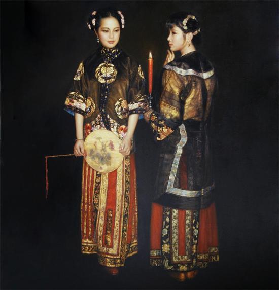 陈逸飞《西厢待月》布面油画1994年作 尺寸:180×170cm
