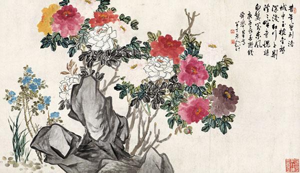 《牡丹月季》作者:陈半丁 创作年代:1962