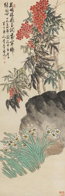 《天竹水仙》 作者:陈半丁  创作年代:1954