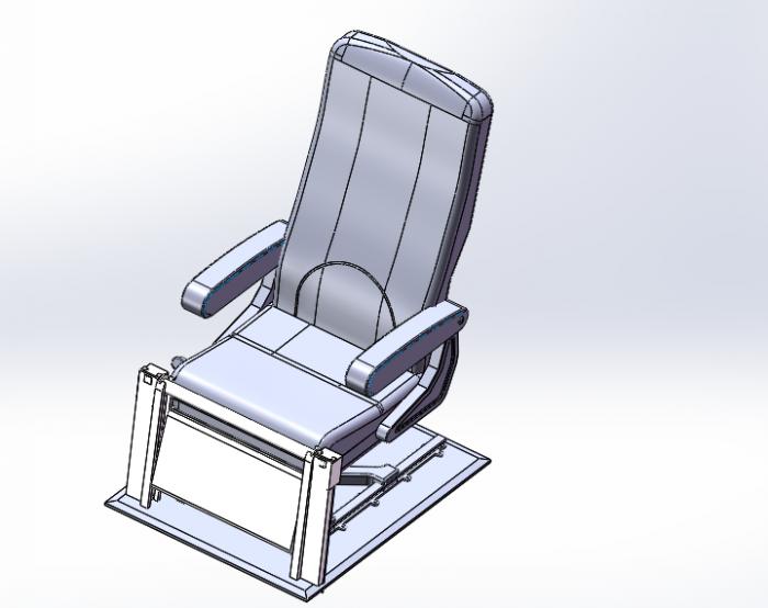 伸缩要求,利用三段式折叠的原理将座椅腿部支撑装置
