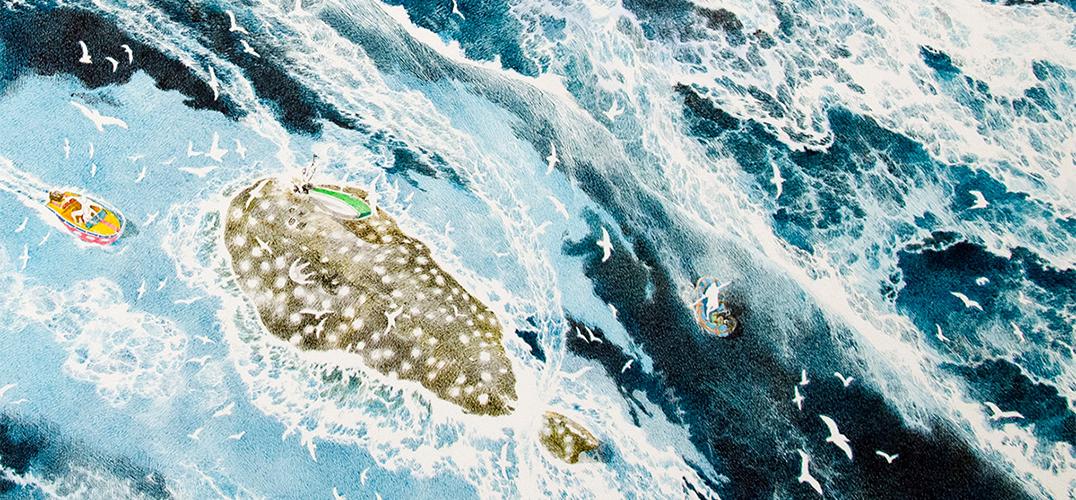 用三年半完成巨幅钢笔墨水画 各中细节描绘海啸种种
