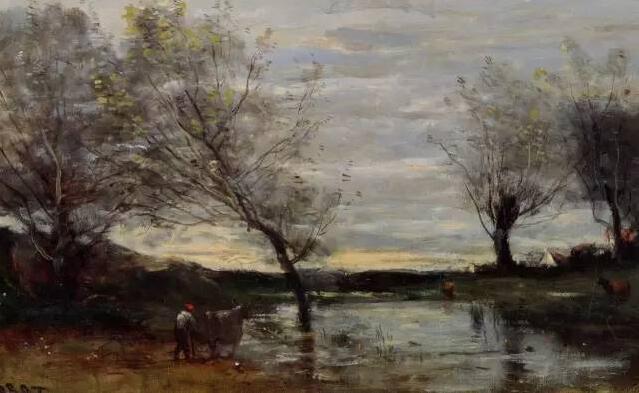 他的风景画朴实中,蕴含着浓郁的诗意,色调柔和,典雅,静谧优美有如梦境