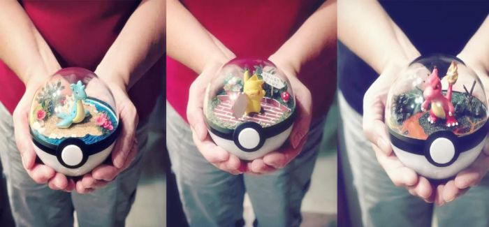 手工制作的宠物小精灵玻璃球微观