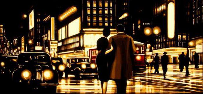 艺术家用胶带作画!勾勒复古而醉人的城市夜色