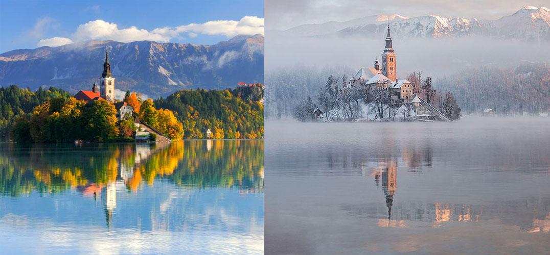 据美国Boredpanda网站12月14日报道,越来越低的温度在不断地提醒我们,冬天来了。至少 ,生活在北半球的我们已经感受到阵阵的寒意。冬季带来的改变似乎显而易见,树叶全部掉 落、树干变得光秃秃的、草地被覆盖在了白雪之下、水塘里的小鸭看起来更像是在滑冰而不 是游泳。当人们把冬季的风景与夏天的风景对比时,季节的差异总是那么显而易见。这一组 照片将告诉你在不同的季节里,同一处风景到底会出现怎么样的变化。这一组精选的图片将 让人们欣赏到那些世界上最美的地方在冬季来临前后的景象。  图为美国密歇根,圣若瑟灯塔