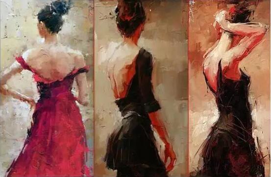 安德烈·科恩喜欢表现生活中不同的人物,他的作品多以背影来