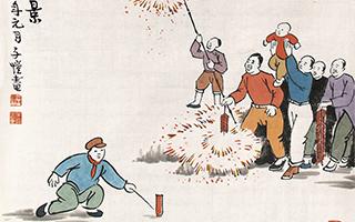 漫画家丰子恺画中浓浓的年味:红灯照得满堂红