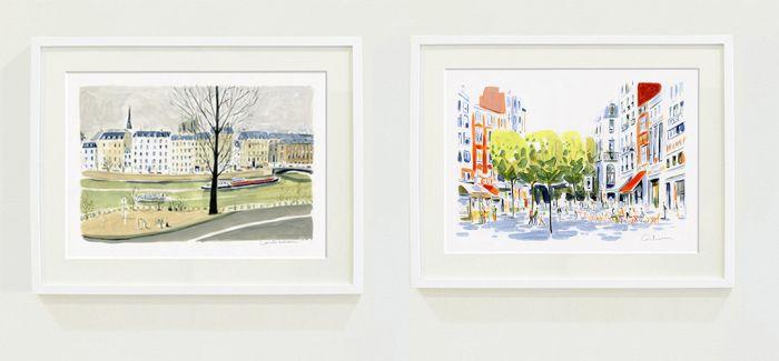 他的城市风景画尝尝有着大面积的留白处理,轻描淡写的线条看似简单