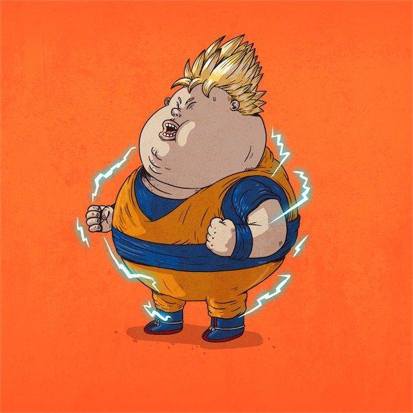如果一众超级英雄,可爱卡通人物,童话公主等全因为暴饮暴食而变了胖子