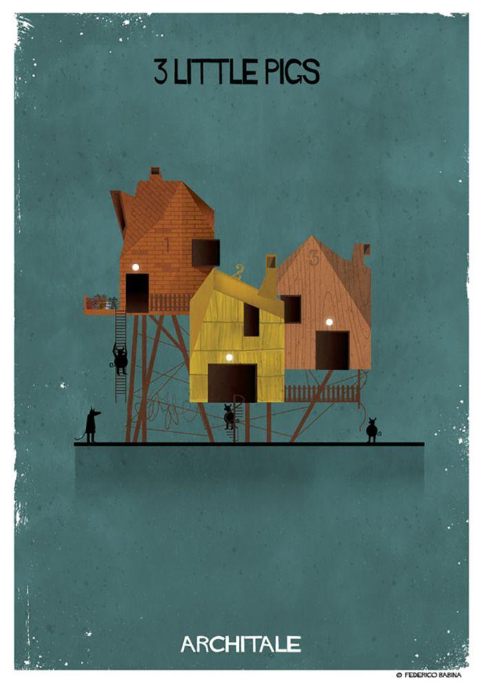 富有想象力的建筑插图讲述童话故事图片