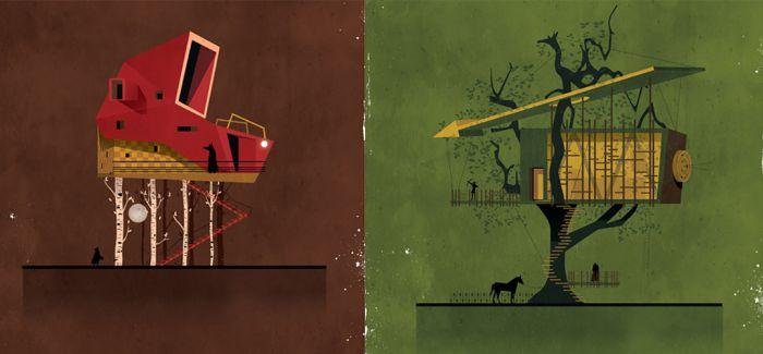富有想象力的建筑插图讲述童话故事