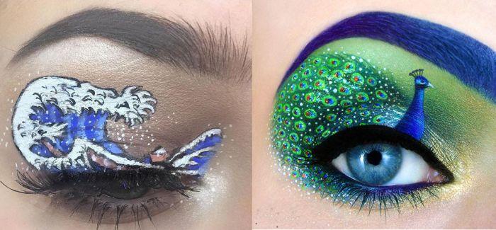 英少女创作微型艺术眼妆重现名家画作