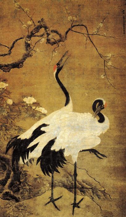 此图画两只丹顶鹤,其神态舒展自如,栩栩如生.