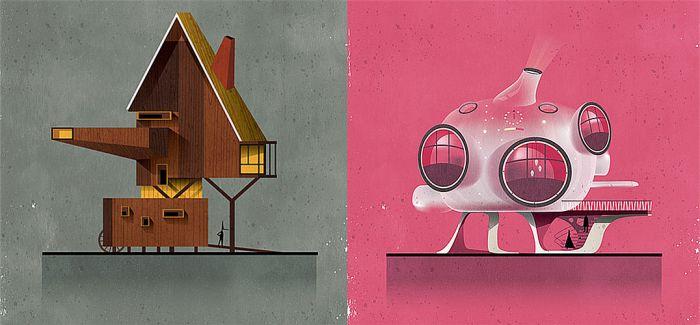意大利插画家Federico Babina用建筑表达出17个童话故事