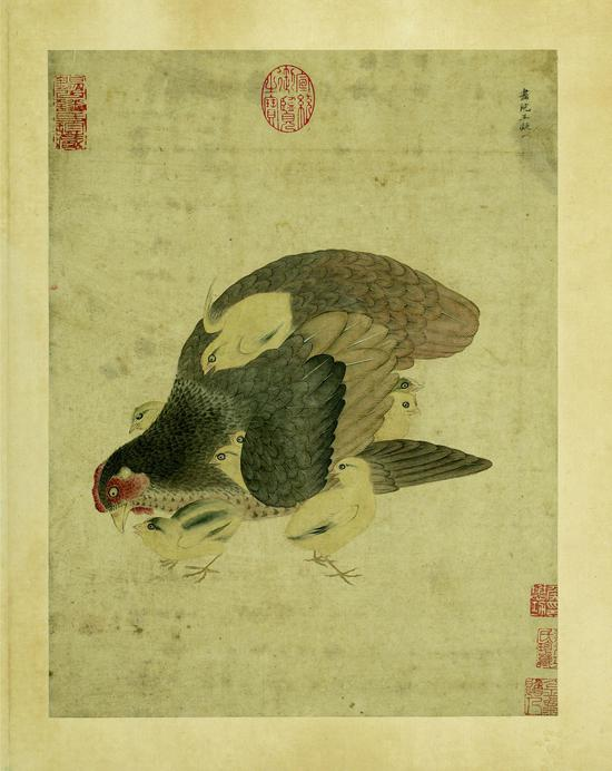 宋王凝《子母鸡》册页