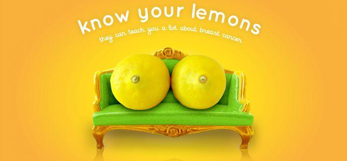你的柠檬健康吗?世界乳癌机构的水果宣导海报
