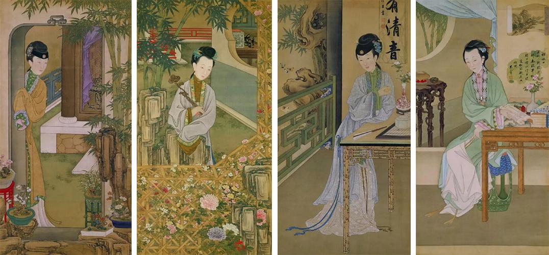 仕女手持薄纱纨扇,坐于茂密的梧桐树下静心品茶.